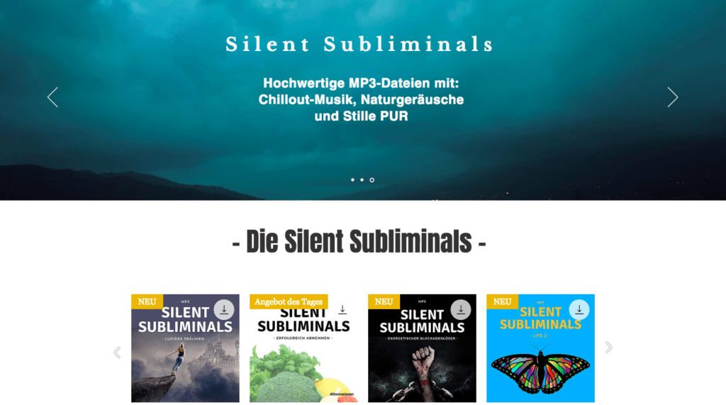 Silent Subliminals Deutsch Shop